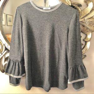 Sweatshirt type Swing Top Frilled Sleeve Grey L